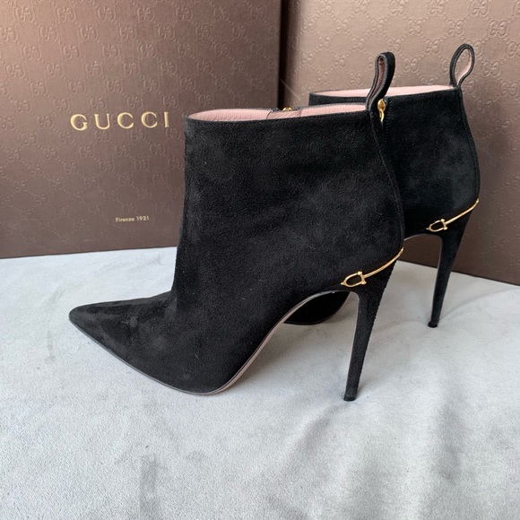 Gucci Black Suede High Heel Ankle Boots